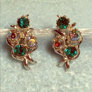 Vintage BSK COSTUME RHINESTONE CLIP EARRINGS